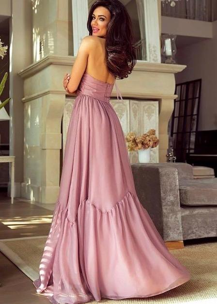 długa sukienka sofia pudrowy róż z odkrytymi plecami sofia