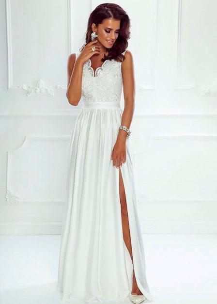 Długa sukienka z koronkową górą bez rękawów z rozkoporkiem Elena ecru