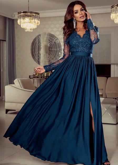 Długa sukienka Luna koronkowa z rękawem maxi morska