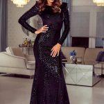 Długa sukienka na sylwestra cekinowa Amy przód