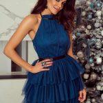 Krótka sukienka z falbanami Candice tiulowa morska