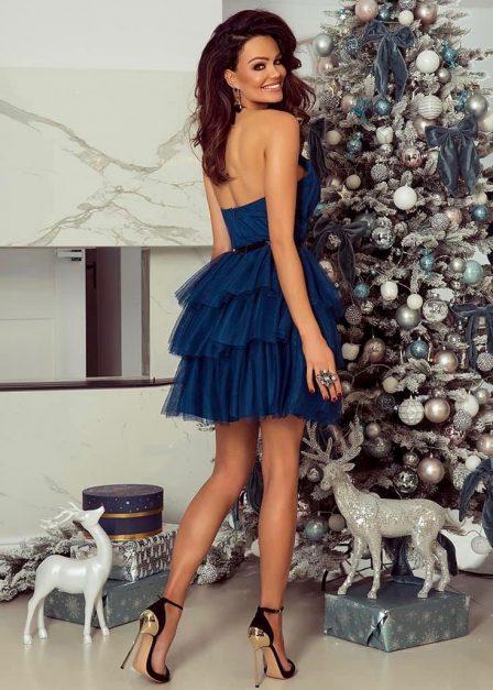 Krótka sukienka z falbanami Candice tiulowa morska tył