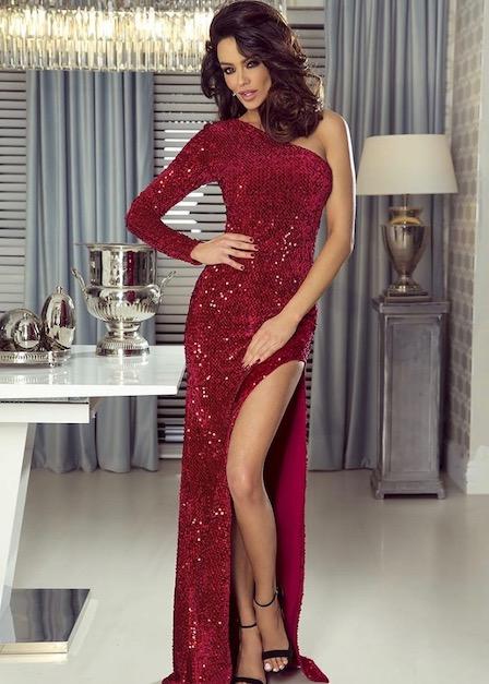długa sukienka nelly z cekinami czerwona