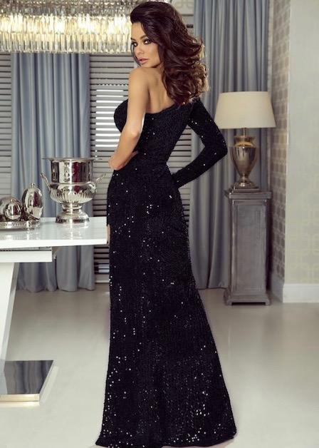 długa sukienka nelly z cekinami czarna