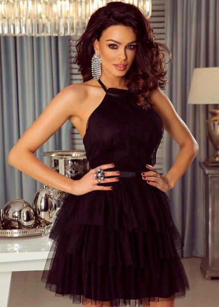 Krótka sukienka z falbanami Candice tiulowa czarna