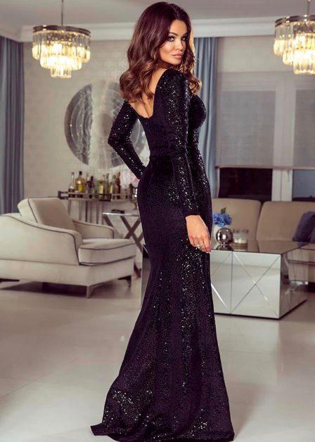 Długa sukienka na sylwestra cekinowa Amy czarna tył