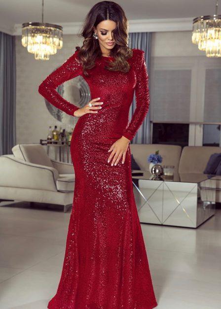 Długa sukienka na sylwestra cekinowa Amy czerwona