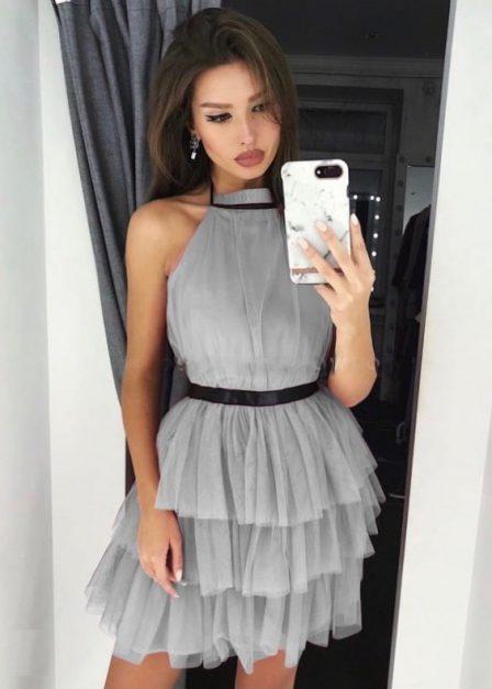 Krótka sukienka z falbanami Candice tiulowa szara