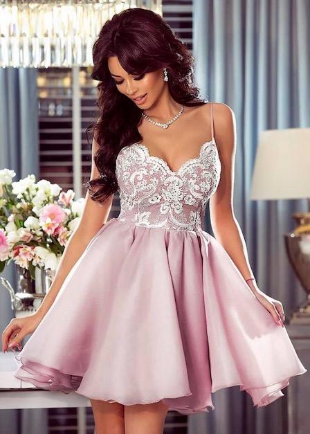 krótka sukienka loretta pudrowy róż koronkowa