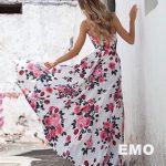 długa sukienka na lato w kwiaty sia tył