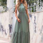 długa sukienka sofia z odkrytymi rękawami zielona