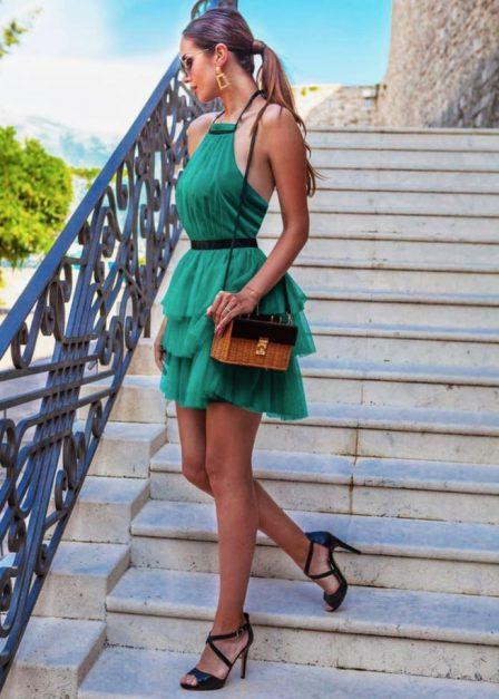Krótka sukienka z falbanami Candice tiulowa szmaragdowa