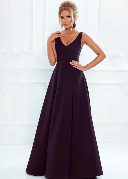 długa czarna sukienka karen z dekoltem