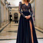 Długa sukienka Adel z koronkową górą z rękawem czarna z ropkorkiem