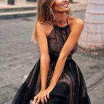 Sukienka Lara midi tiulowa z odkrytymi plecami czarna