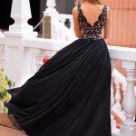 Długa sukienka z dekoltem koronkowym z rozporkiem bez rękawa Chiara Zielona tył