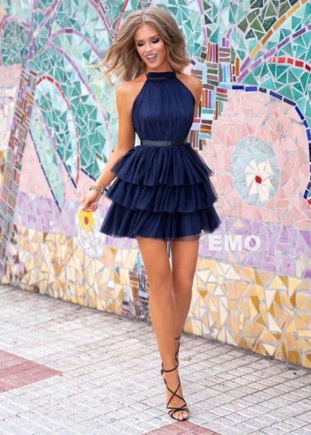 Krótka sukienka z falbanami Candice tiulowa granatowa