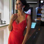 Sukienka koronkowa Melani czerwona z dekoltem