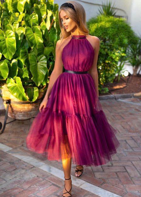 Sukienka tiulowa Lara midi bordowa z paskiem