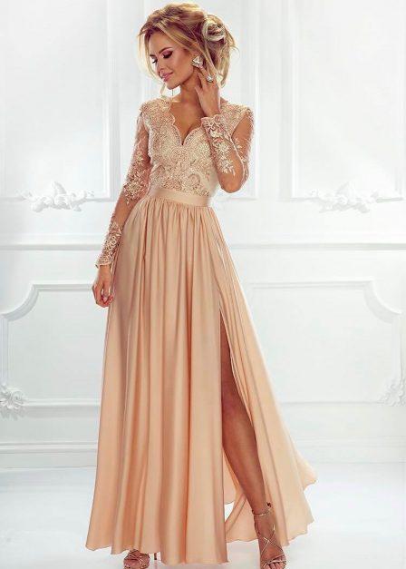 Długa sukienka Luna koronkowa z rękawem maxi toffi