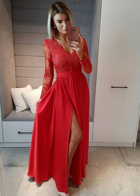 Długa sukienka Luna koronkowa z rękawem maxi czerwona