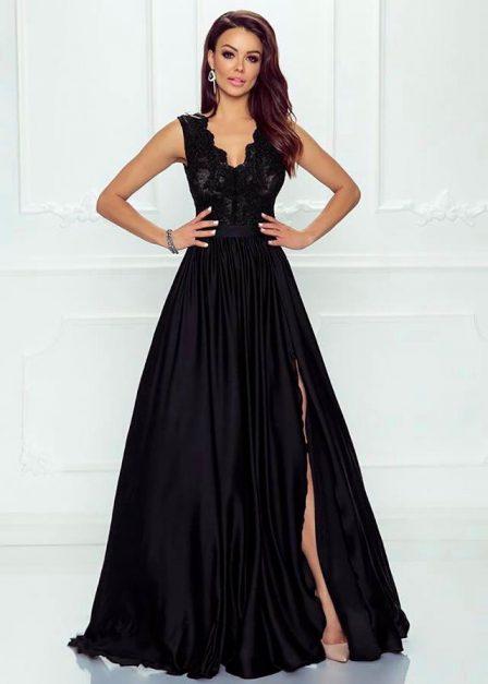 Długa sukienka z koronkową górą bez rękawów z rozkoporkiem Elena czarna