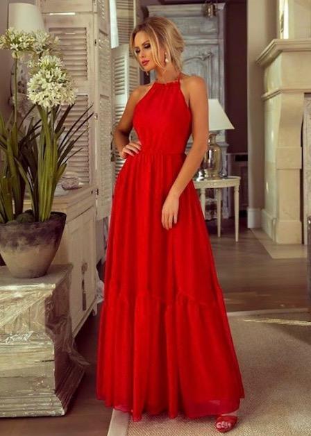 długa sukienka sofia z odkrytymi rękawami czerwona