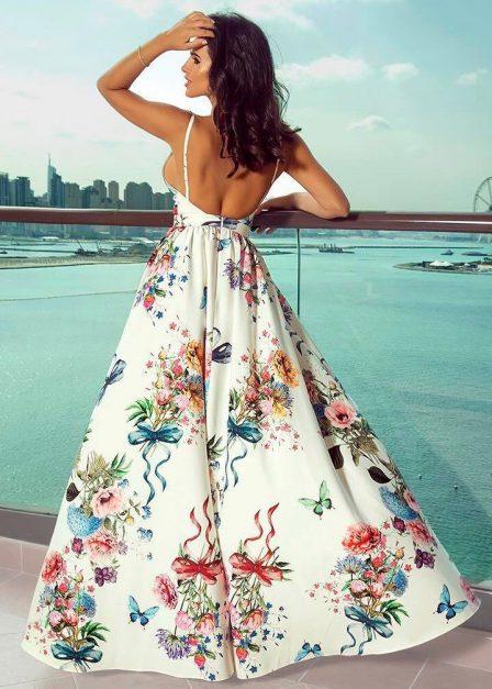 Długa sukienka Rosie w kwiaty na ramiączkach tył
