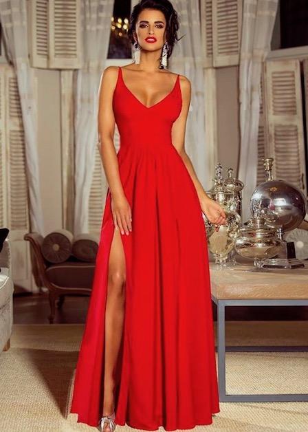 długa czerwona sukienka z podwójnym rozporkiem sia