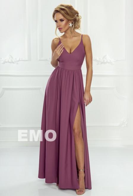 sukienka maxi sia jagodowa na ramiączkach