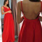 Długa sukienka Rosie czerwona na ramiączkach tył