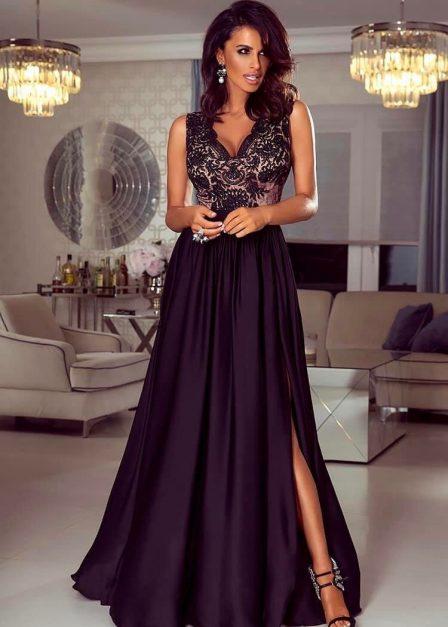 Długa sukienka z koronkową górą bez rękawów z rozkoporkiem Elena czarna z beżem