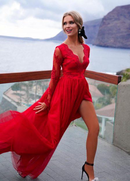 długa czerwona sukienka Adel czerwona
