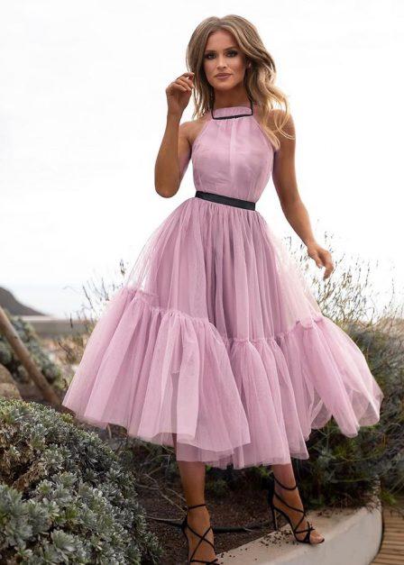 długa sukienka z odkrytymi plecami lara pudrowy róż
