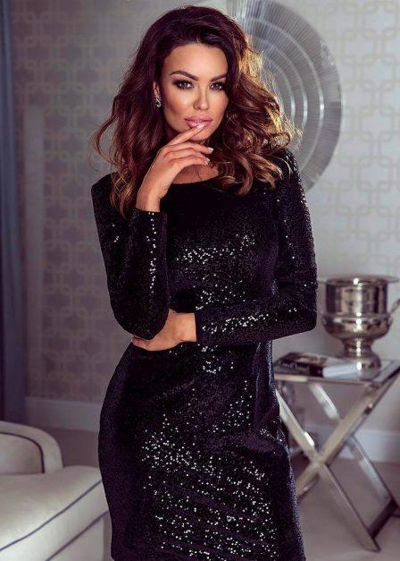 Sukienka z cekinami z rękawem na sylwestra Czarna
