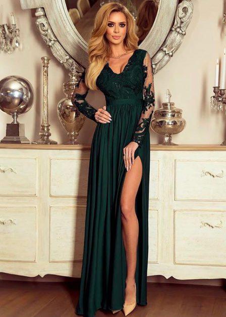 Długa sukienka Luna koronkowa z rękawem maxi ziloena