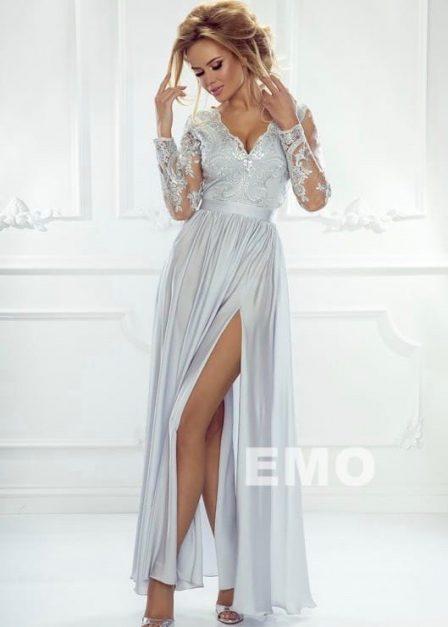 Długa sukienka Luna koronkowa z rękawem maxi szara