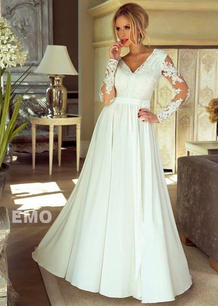 Długa sukienka Luna koronkowa z rękawem maxi ecru