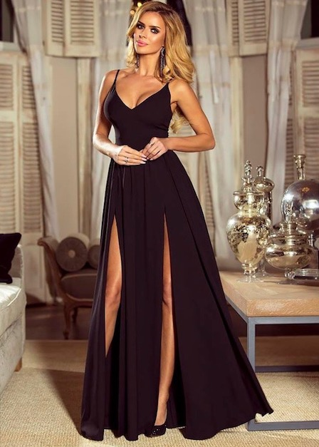 długa czarna sukienka z podwójnym rozporkiem sia