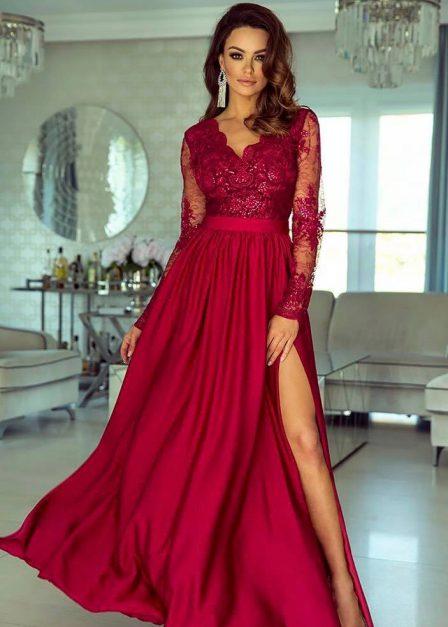 Długa sukienka Luna koronkowa z rękawem maxi bordowa
