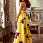 Długa sukienka Rosie w motyle na ramiączkach tył