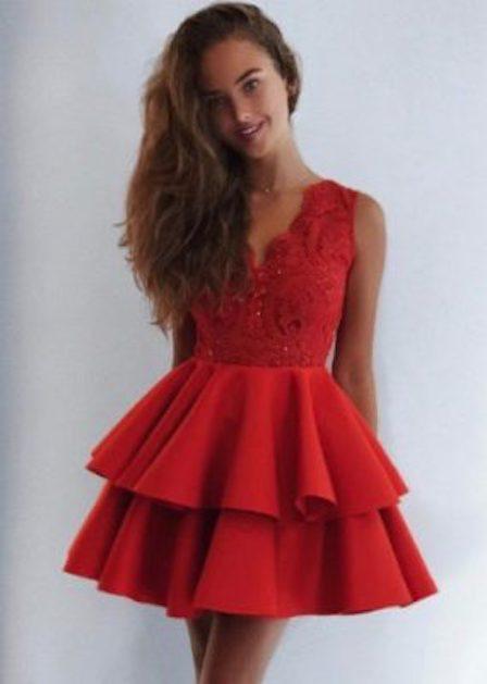 krótka czerwona sukienka rozkloszowana anastasia