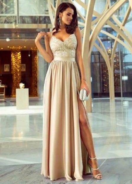 długa sukienka z ramiączkami rozcięcie na udzie eliza