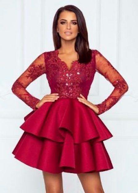 krótka sukienka z koronkową górą emma
