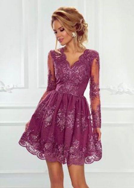 krótka jagodowa sukienka iness
