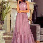 długa sukienka sofia z odkrytymi rękawami pudrowy róż