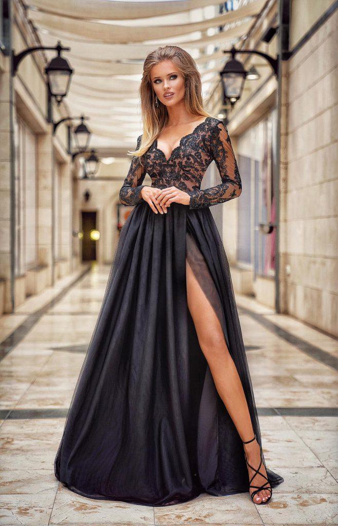 długa sukienka adel koronkowa z rozcięciem na udzie czarna