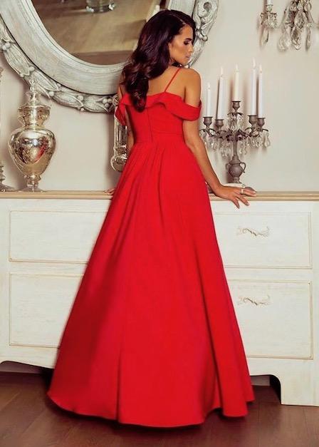 długa czerwona sukienka sinsay tył
