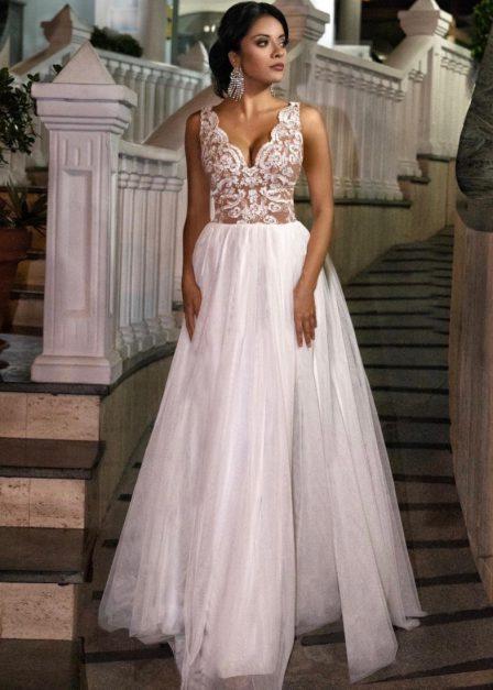 Sukienka Chiara z koronkową górą biała