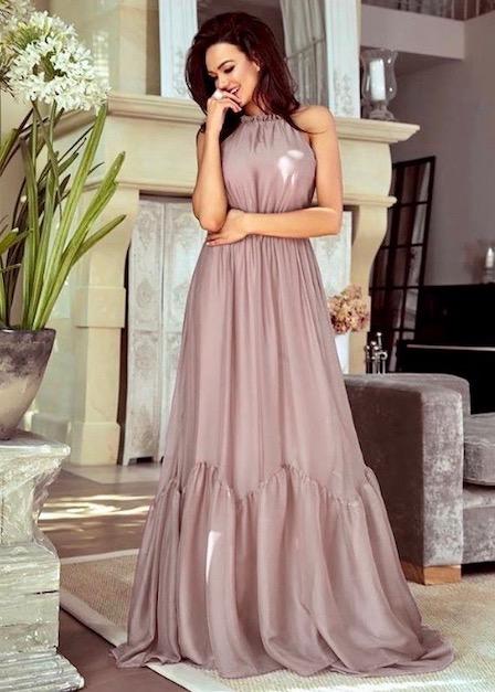 długa sukienka sofia z odkrytymi rękawami cappuccino